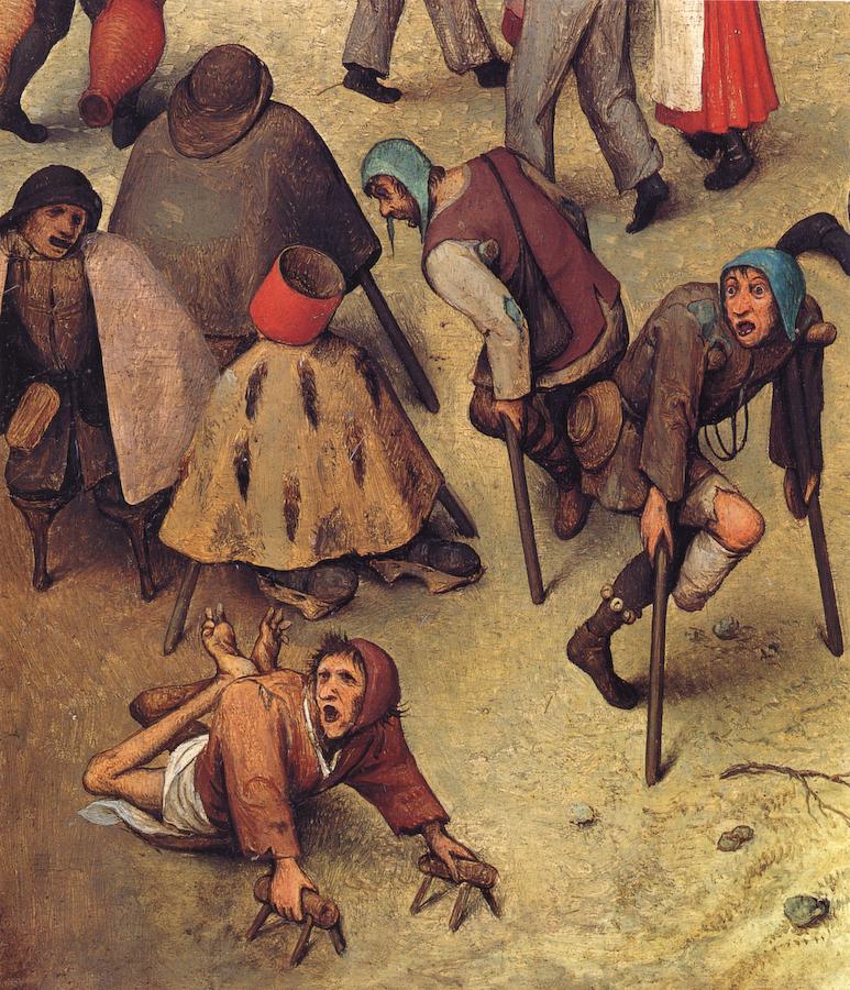 03 Grupo de Tullidos de Pieter Brueghel El viejo, porción de la batalla entre Carnaval y Cuaresma, 1559