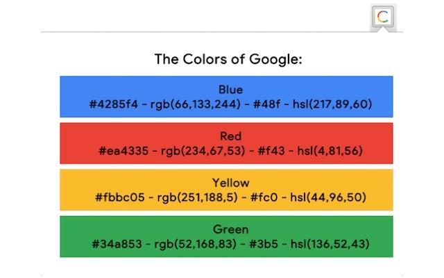 colores de google