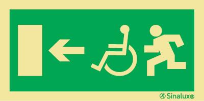 """Imagen de una señal de evacuación en la que se aprecia un indicativo de Accesibilidad, una flecha direccional y una puerta que indica """"salida"""" . Fondo verde, pictogramas en amarillo reflectante"""