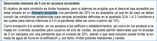 Copia del documento CTE en que se indica la posibilidad de realizar una microrampa del 25% para salvar pequeños desniveles de hasta 5cm