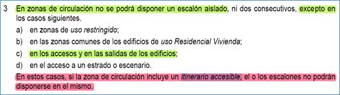 """La imagen contiene un recorte del texto del CTE en que se indica que la """"microrampa"""" no se debe proyectar en  itinerarios accesibles."""