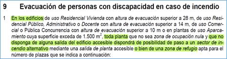 """imagen del texto del CTE que indica que en los edificios toda planta que no tenga una """"salida del edificio accesible"""" dispondrá de la posibilidad de paso a un sector alterntivo o una """"zona de refugio"""""""